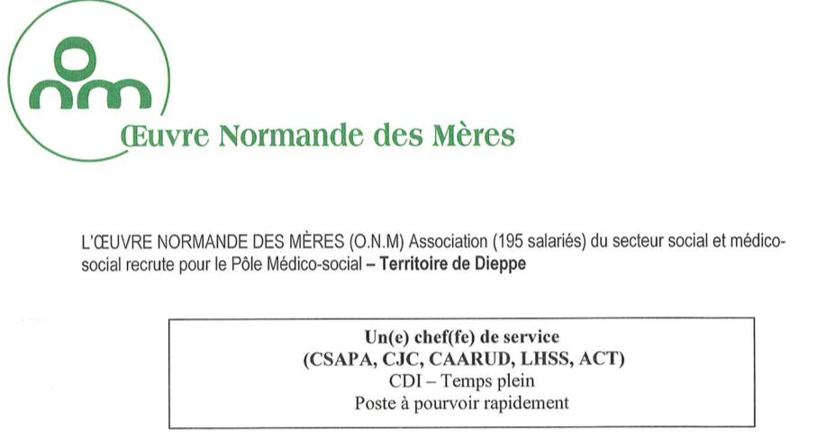 Pole médico-social de Dieppe : l'ONM recherche son (sa) chef de Service
